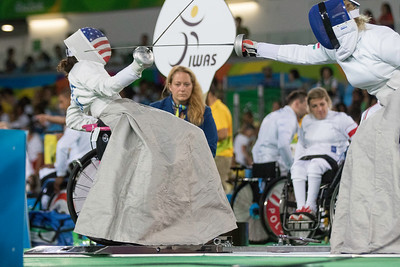 USA Deluca vs HUN  Krajnyak competing in wheelchair fencing. Deluca lost 5-1 against Krajnyak in her second match.  Photo:  Ken King