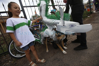 Akira Apodaca, 7, holds her dog Saphira, who is dressed up as Haku from Spirited Away, while getting ready for the Pet Parade at the New Mexico School for the Arts on Saturday, September 10, 2016. Luis Sánchez Saturno/The New Mexican