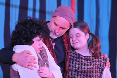 IMG_4214 donovan piccicuto as hansel and jillian sherwin as gretal, hug thier dad, ethan bowen, after the parents make an unsuccsusful try at losing the kids in the forest