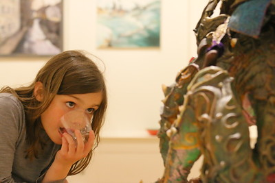 IMG_1773 wyethe murray,9, looks at sculpture titled Shadow Dragon, by anna Hranovska