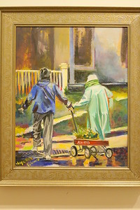 IMG_1762 Best Friends, by nancy neyerlin-pisano, painting based on photo in Vt Standard taken by  rick russell, of jane richards and louise fowler pulling wagon of flowers at garden club plant sale