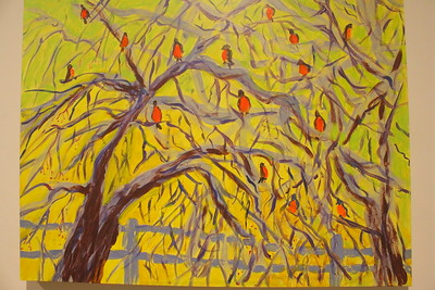 IMG_1645 painting by Peggy Kannenstine, titled Robins Just Before Spring, acrylic on wood