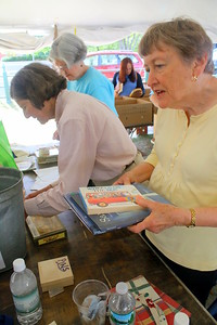 IMG_5526 joanna long, ann debovoise, and ann sadowsky at right,,,cashiers at book sale