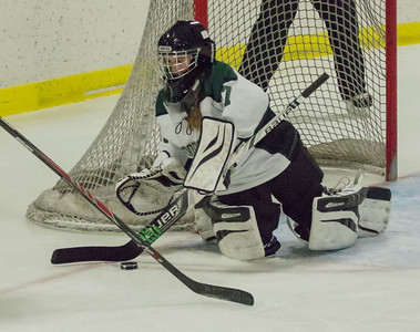 Annabelle Lessard goes to cover the puck