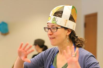 IMG_9303- Educator Rebecca Haynes, making party hats