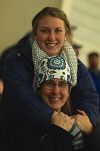 Hockey fans extrordenaire, Aria and Beth Robinson at the Varsity Mississquoi boys hockey game last Wednesday