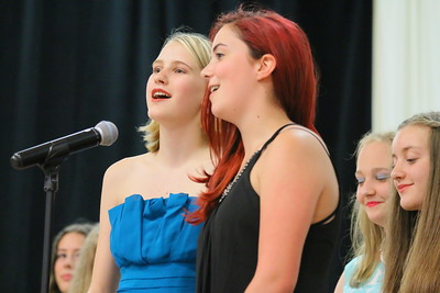 IMG_6027 sydney read and daisy johnson take a turn singing part of the class song, I Will Remember You