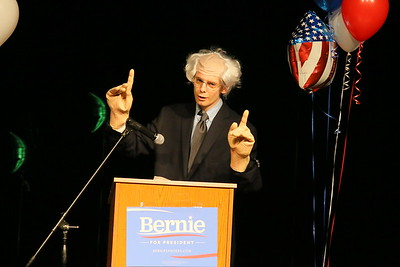 IMG_9858 Ray Kurek, as bernie sanders, makes joke about hand size, and raising taxes to 90 percent to pay for his programs