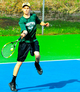 Playing at No  1 singles, senior Ray Kurek smashes a forehand for a winner against Rutland - Tim Gould