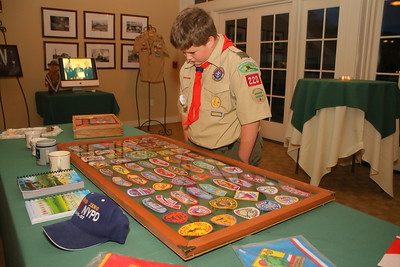 IMG_9637 hudson maxham looks at collection of dwights scouting memorobilia