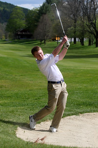 Photo by Herb Swanson:      Braden McCarthy chips to the green on the first hole during a match at the Woodstock Country Club in Woodstock, Vermont on Tuesday May 17, 2016.