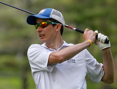 Photo by Herb Swanson:      Andrew Borden watches his drive during a match at the Woodstock Country Club in Woodstock, Vermont on Tuesday May 17, 2016.