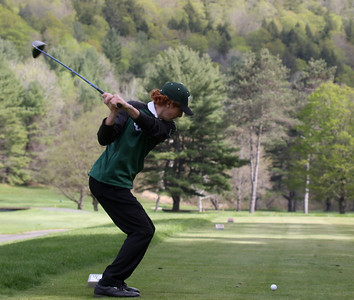 Photo by Herb Swanson:      Joe Bianchi tees off on the second hole during a match at the Woodstock Country Club in Woodstock, Vermont on Tuesday May 17, 2016.