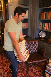 IMG_6974 david hall brings books into libary