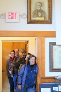 IMG_4585 karen Rosene-Montella is first in line to vote at pomfret,,line just before poll opened