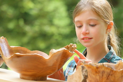 IMG_5491 priscilla richardson,9, of taftsville,,feels the edge of a bowl made from red elm