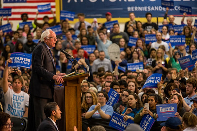 Bernie Sanders speaks at Purdue University in West Lafayette, Indiana on April 27, 2106