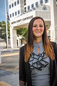 Courtney McClure in front of Gaston County Courthouse; Fall 2016.