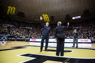 Rick Mount is honored at halftime of the Purdue Boilermakers basketball game against  Iowa on January 2, 2016