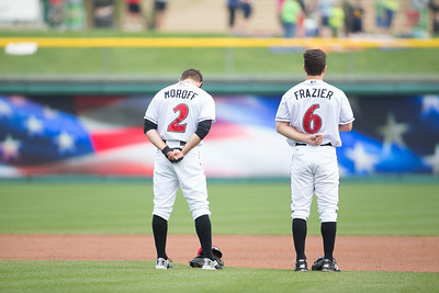 Max Moroff and Adam Frazier stand for the National Anthem prior to the game on April 19, 2016 at Victory Field in Indianapolis, Indiana between the Indianapolis Indians and the Toledo Mud Hens. The Mud Hens won 5-3. Dave Wegiel/Indianapolis Indians