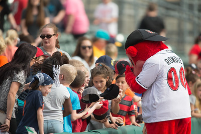 Indy Indians mascot Rowdie signs autographs prior to the  game on April 19, 2016 at Victory Field in Indianapolis, Indiana between the Indianapolis Indians and the Toledo Mud Hens. The Mud Hens won 5-3. Dave Wegiel/Indianapolis Indians