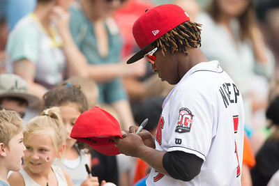 Gift Ngoepe signs autographs prior to the game on April 19, 2016 at Victory Field in Indianapolis, Indiana between the Indianapolis Indians and the Toledo Mud Hens. The Mud Hens won 5-3. Dave Wegiel/Indianapolis Indians
