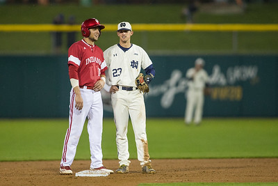 Austin Cangelosi and Cavan Biggio talk during the Notre Dame game against Indiana on April 26, 2016. The Irish defeated the Hoosiers 5-0 at Victory Field.