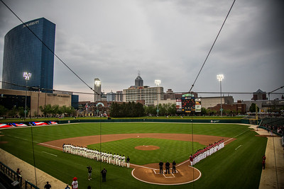 A general view of Victory Field as the National Anthem is played before Notre Dame and Indiana play. The Irish defeated the Hoosiers 5-0 at Victory Field.