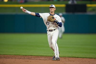 Cavan Biggio throws a ball to first base. The Irish defeated the Hoosiers 5-0 at Victory Field.