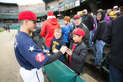 Adam Frazier sings an autograph prior to the game on April 30, 2016 at Victory Field in Indianapolis, Indiana between the Indianapolis Indians and the Norfolk Tide. The Tide won 5-1. Dave Wegiel/MiLB.com