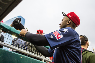 Mel Rojas Jr. signs an autograph during the game on April 30, 2016 at Victory Field in Indianapolis, Indiana between the Indianapolis Indians and the Norfolk Tide. The Tide won 5-1. Dave Wegiel/MiLB.com