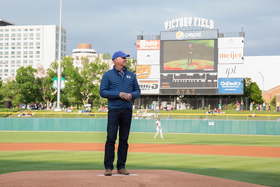 Ryne Sandberg throws out the first pitch prior to the game on May 7, 2016 at Victory Field in Indianapolis, Indiana between the Indianapolis Indians and the Louisville Bats. The Indians won 2-1. Dave Wegiel/MiLB.com