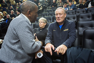 Rick Mount talks with Ralph Taylor prior to the Purdue Boilermakers basketball game against  Iowa on January 2, 2016