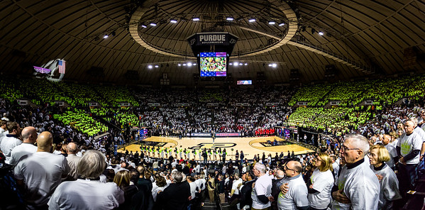 The National Anthem is played at Mackey Arena before the Big Ten Conference game between the Purdue Boilermakers and the Ohio State Buckeyes.