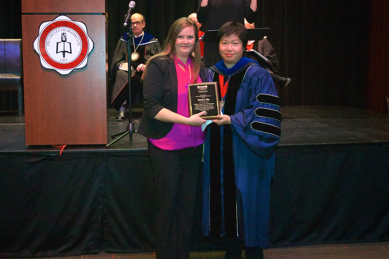 THE WALLACE CARPENTER MANAGEMENT INFORMATION SYSTEMS AWARD is named in memory of Professor Wallace Carpenter, who started the Management Information Systems program at Gardner-Webb.  This award is given to Rebekah F. Tilley.