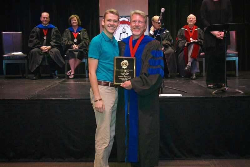 """THE THEODORE PRESSER MUSIC AWARD - Is presented by the Theodore Presser Music Foundation of Bryn Mawr, Pennsylvania, to the student judged the outstanding music major at the junior level.  The award designates the student to be known as """"The Presser Scholar."""" The recipient is Christian Taylor Jessup."""