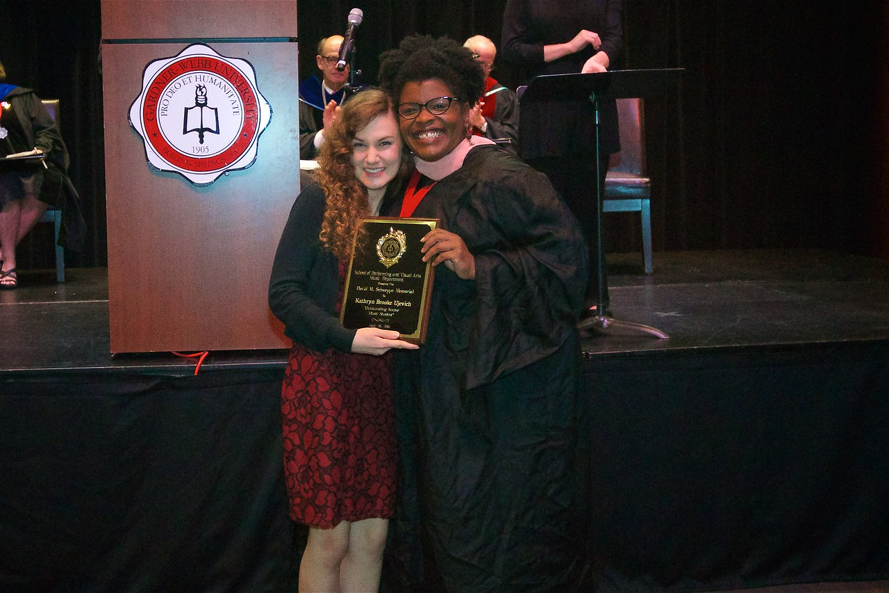 THE DAVID M. SCHWEPPE MEMORIAL MUSIC AWARD-  Is presented by the Shelby Rotary Club to the graduating senior who has made the most significant contribution to the music program of the university, as well as significant academic and professional achievements.  The winner is Kathryn Brook Ujevich.