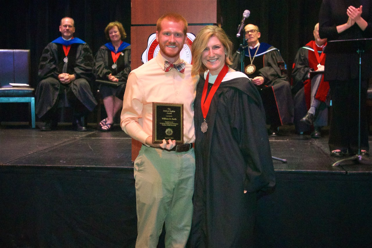BIBLICAL STUDIES AWARDThe Department of Religious Studies and Philosophy recognizes a graduating senior who has excelled in his or her achievement in the Biblical Studies major. This year the award goes to William D. Earls.