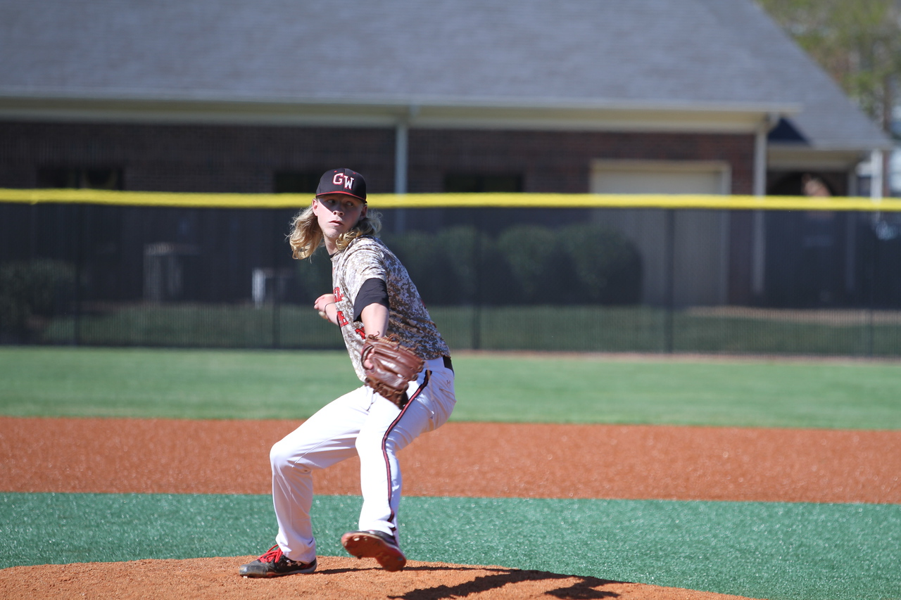 #32 Tyler Johnson was the closing pitcher. Gardner-Webb Baseball took on High Point in the last of a three game series.