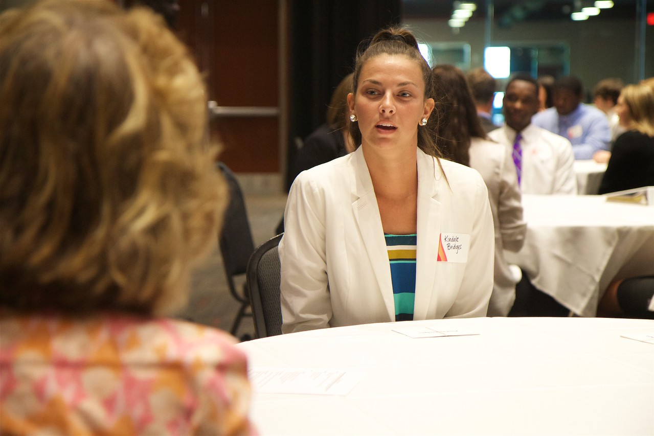 """Career Networking Event: students get the chance to practice their """"elevator speeches"""" with local area business leaders and professionals, increasing student confidence and experience."""