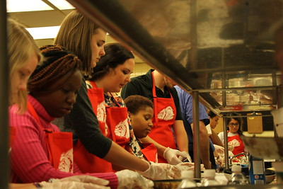 Students learned how to make a full meal that would be easy to serve to guests in a future home after graduation.