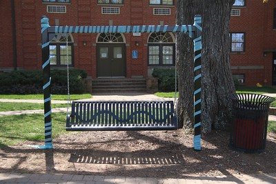 Benches, trees, light posts, etc. were covered with streamers.