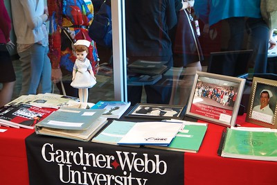 Nursing 50th Anniversary. A commemorative table to celebrate the decades of nursing offerings at Gardner-Webb.
