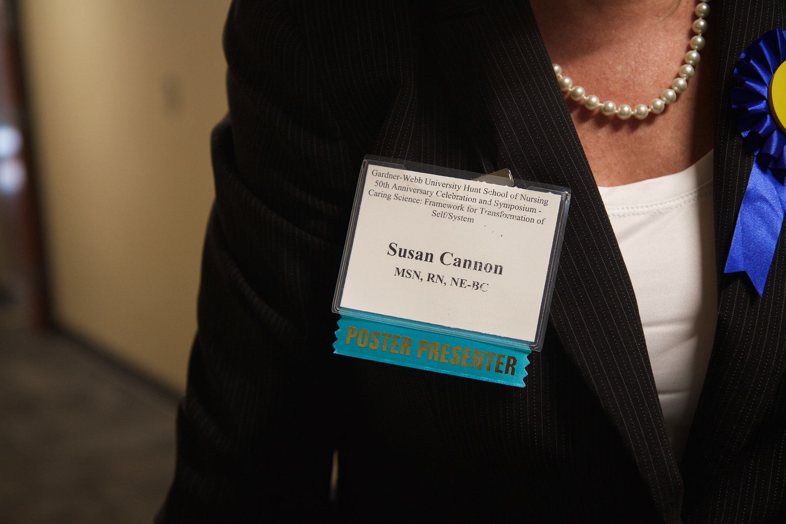 Nursing 50th Anniversary. Susan Cannon, currently enrolled in the doctoral program at Gardner-Webb, serves as the Assistant Vice President of Inpatient Nursing Services at Carolina HealthCare Systems in Lincoln. Her research project and poster presentation was voted by peers as the people's choice.
