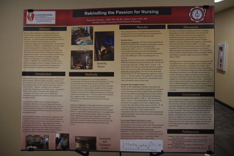 Nursing students and professionals were given a chance to present their research projects and findings to regional nursing and healthcare employees and community members during the 50th Anniversary of the Nursing Program at Gardner-Webb University. Susan Cannon's poster on introducing healing environments and programs for nurses.