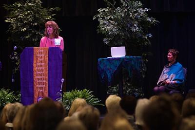 Nursing 50th Anniversary. GWU Associate Professor in Nursing Gayle Casterline introduces her friend, colleague, and keynote speaker Jean Watson.