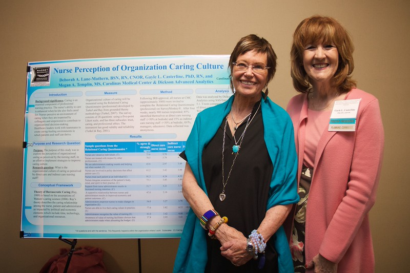 Nursing students and professionals were given a chance to present their research projects and findings to regional nursing and healthcare employees and community members during the 50th Anniversary of the Nursing Program at Gardner-Webb University. Friends Jean Watson and Gayle Casterline pose in front of Gayle's poster presentation on Caring Culture.