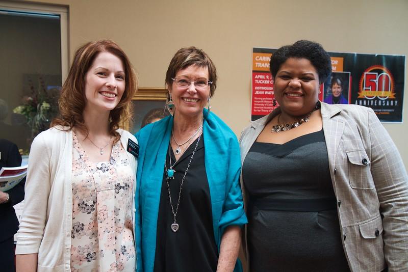 Nursing 50th Anniversary. GWU Nursing professors Abby Garlock and Quanza Mooring pose for a photo with keynote speaker Jean Watson.