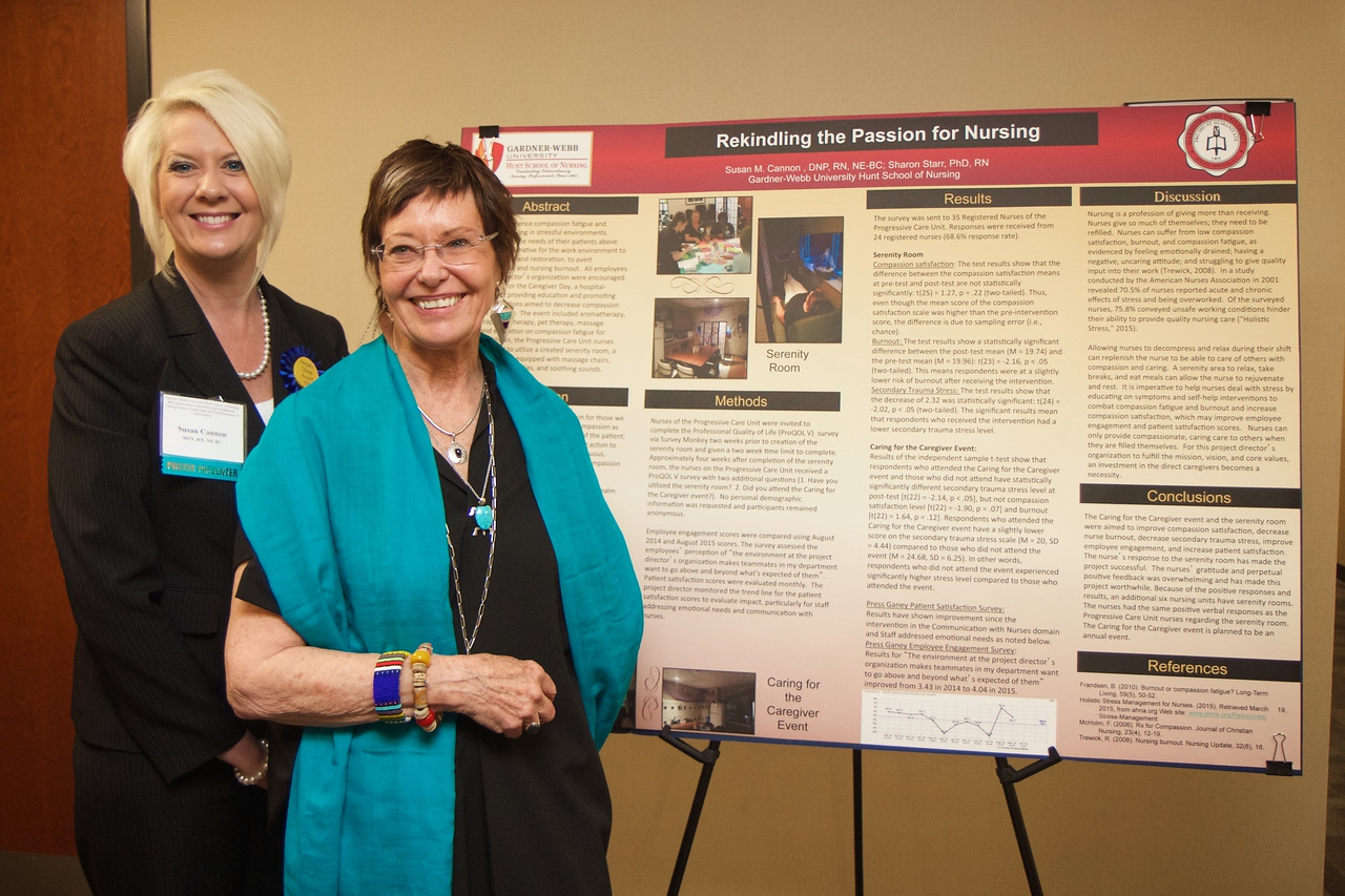 Nursing students and professionals were given a chance to present their research projects and findings to regional nursing and healthcare employees and community members during the 50th Anniversary of the Nursing Program at Gardner-Webb University. Susan Cannon and Jean Watson in front of Susan's research presentation.