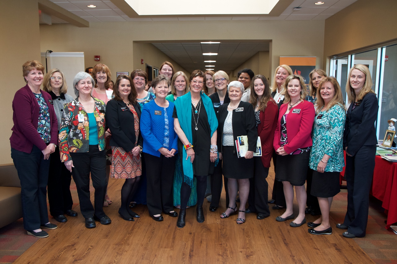 Current and former Gardner-Webb Nursing faculty and staff gather for a photo with symposium keynote speaker Jean Watson during the 50th Anniversary celebration of the Nursing Program at Gardner-Webb University.